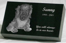 Absolute Black Granite 4x7x2 Pet Headstone