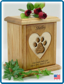 Pet Cremation Urn - Heart with Pawprint
