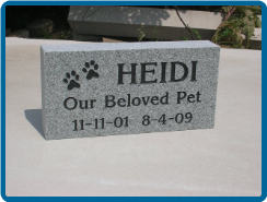 Gray Granite 6x12x2 Pet Headstone