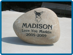 Large River Rock Pet Garden Memorial