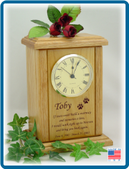 Pet Cremation Urn - Mantel Clock with Small Poem