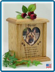 Pet Cremation Urn - Photo Holder with Poem - choose Heart, Oval or Paw shape