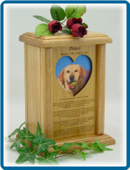 Pet Cremation Urn - Photo Holder with Rainbow Bridge Poem-Heart or Oval Shape Opening