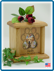 Pet Cremation Urn - Paw Print Photo Holder